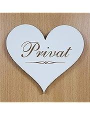 Cartel de corazón «PRIVAT» de aprox. 13 x 12 cm – Cartel de puerta autoadhesivo decorativo para accesorios del hogar – Cartel de aviso