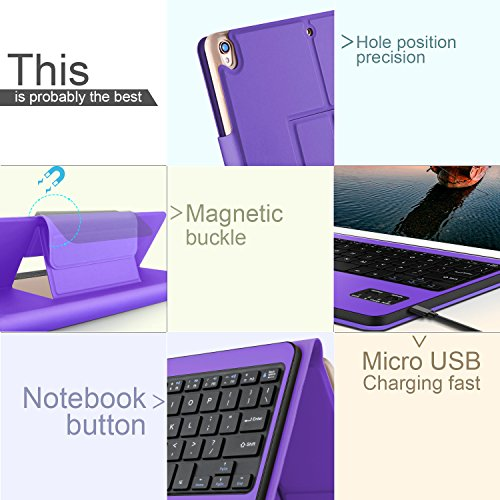 IVSO Apple iPad Pro 10.5 Keyboard Case, Ultra-Thin DETACHABLE Wireless Keyboard Stand Case/Cover + Pencil holder for Apple iPad Pro 10.5-inch 2017 Version Tablet (Purple) by IVSO (Image #8)