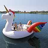 Sun Pleasure GIANT Party Bird Island Unicorn - FAST SPEED PUMP INCLUDED - Inflatable Unicorn WITH Pump And Carrying Bag - Use in Lake, River, Ocean, Pool Floats for up to 6 PEOPLE - 1 YEAR GUARANTEE