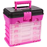 Best Price Juvale Tool Box Organizer Box Includes 4 13 compartment Slideout Containers Perfect For Storing Tackle Craft Accessories Nuts And Bolts Pink 105 X 102 X 62 Inches