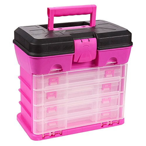 Tool Box - Organizer Box - Includes 4 13-Compartment Slideout Containers - Perfect for Storing Tackle, Craft Accessories, Nuts and Bolts, Pink, 10.5 x 10.2 x 6.2 Inches