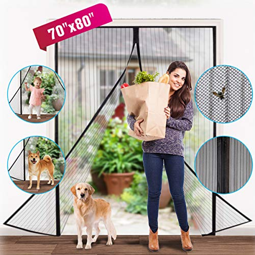 Magnetic Screen Door,Reinforced Heavy Duty Mesh Curtain Screen Doors with Magnets French Door Screen Full Frame Velcro Easy Installation Screen Door Mesh Kit Fits 70