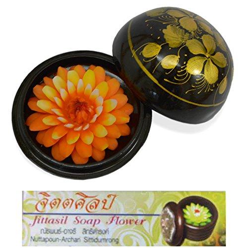 Jittasil Orange Dahlia Hand-Carved Soap Flower 4 inch Gift Box - Orange Hand Carved Wood