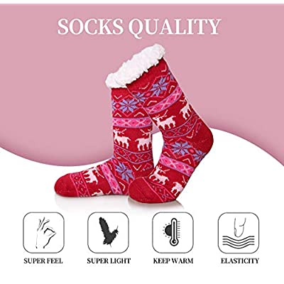 SDBING Women's Warm Cozy Fuzzy Fleece-lined Knee Highs Christmas gift Slipper socks (Big Red) at Women's Clothing store