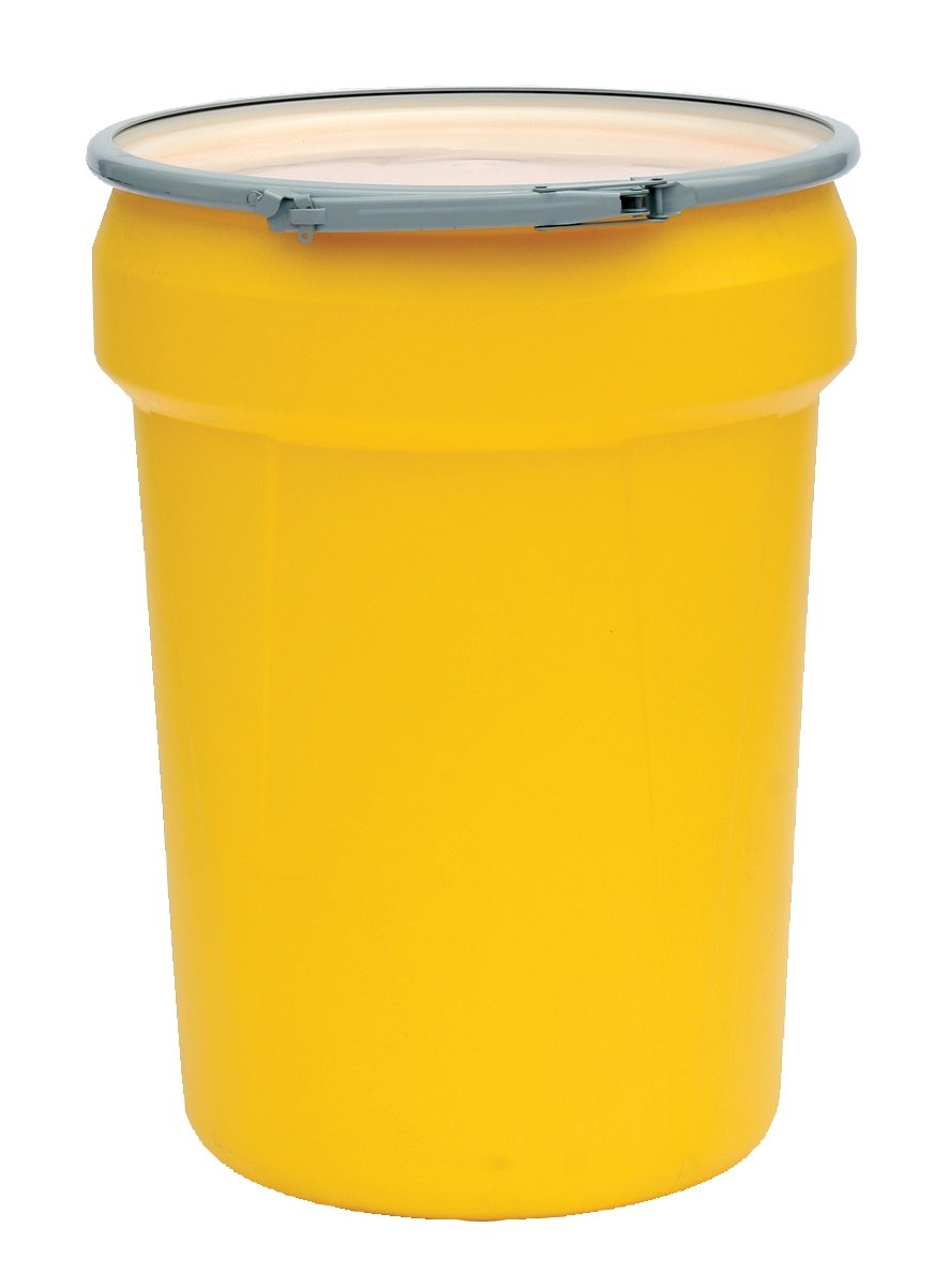 Eagle 1601M Lab Pack Drum with Metal Lever-Lock, 30 Gallon,21-1/8'' OD x 28-1/2'' Height, Yellow