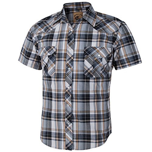 (Coevals Club Men's Short Sleeve Casual Western Plaid Snap Buttons Shirt (M, 2#yellow,grey))