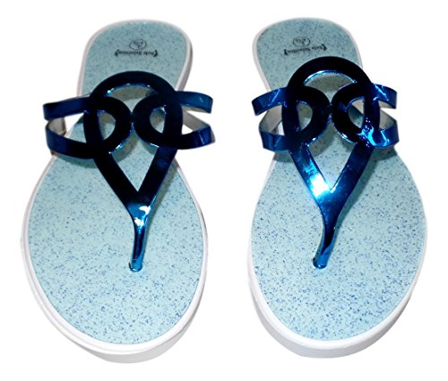 101 BEACH Womens Metallic Embellished Strap Flip Flop Sandal Blue iFucWzU