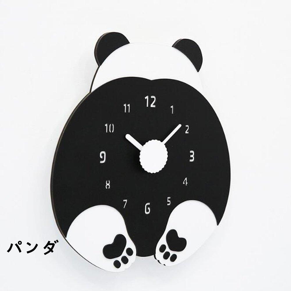 壁掛け時計 おしゃれ かわいい  ハンドメイド 子ども部屋 幼児園 小学校  (パンダ) B0785GH7P2 パンダ パンダ