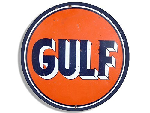 (GHaynes Distributing Vintage Round GULF Gas Logo Sticker Decal (motor oil car gasoline decal) 4 x 4 inch)