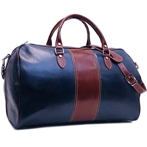 Floto Venezia Duffle Bag in Blue and Brown Italian Calfskin Leather