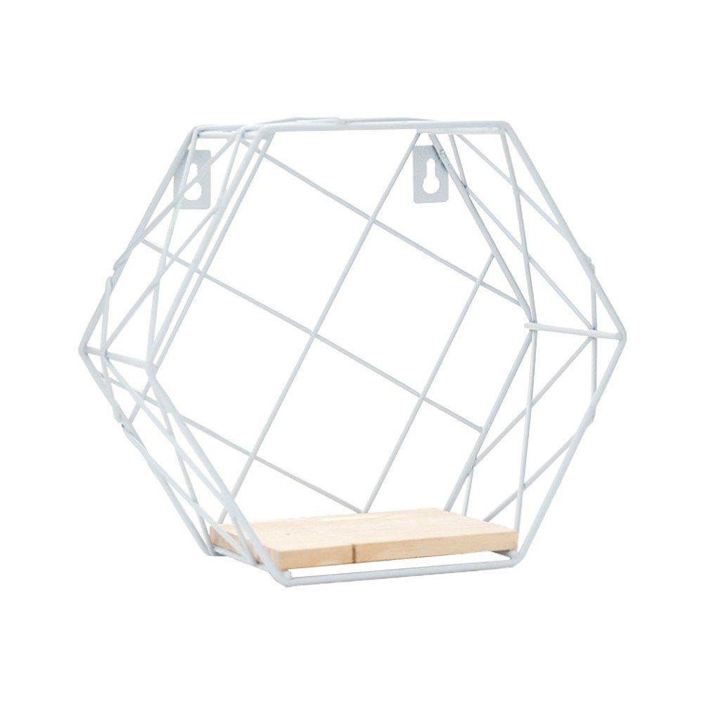 Wall Hanging Shelves,Sundlight Metal Iron Wire Hexagon Wall Hanging Mounted Floating Shelves Display Racks for Storage Plants Pot,Magazine,Book,Ornaments Home Office Decor