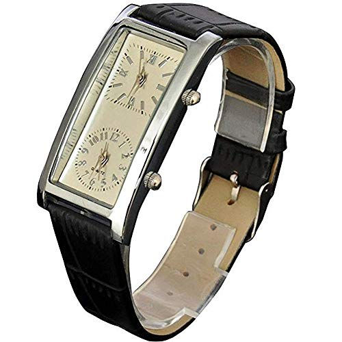 (Generic Beige Dial Dual Timezone Womens Analog Quartz Leather Band Wrist Watch)