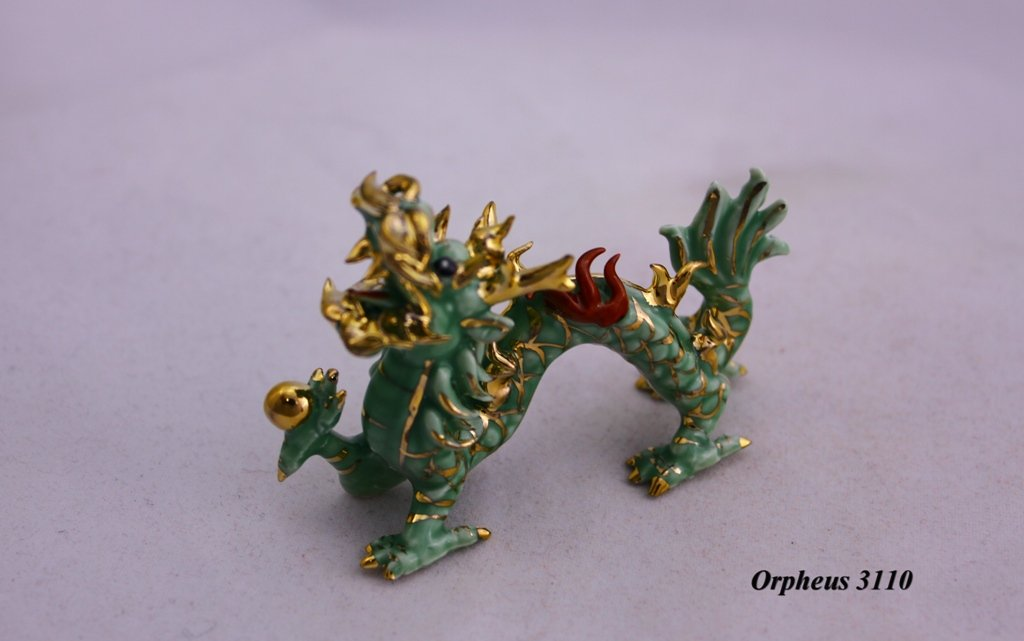 Feng Shui Yellow Dragon Yellow Figurine D 03045. Hand Crafted and Decorated Fine Chinese Porcelain