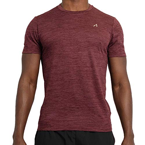 Alive Men's Tee Shirt Active Quick Dry Workout Short Sleeve Shirts Crew Neck (Biking Red Heather, - Workout Shirt Athletic