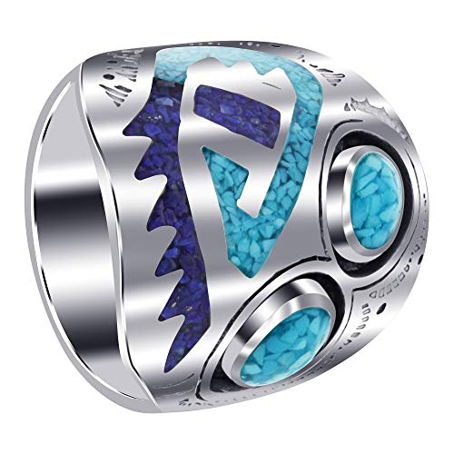 Turquoise Lapis Inlay - Men's 925 Sterling Silver Turquoise Inlay Ring Size 11.5 with Mosaic Design