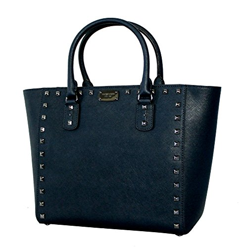 Michael Kors Womens Saffiano black/metallic stud LARGE TO...