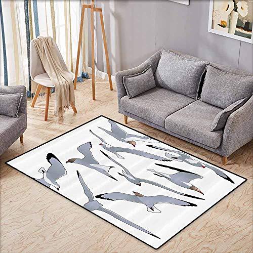 Outdoor Patio Rug,Seagulls Decor,Many Seagulls in Flight Facing Different Positions Simplistic Cartoon Drawings Print,Anti-Slip Doormat Footpad Machine Washable,4'7