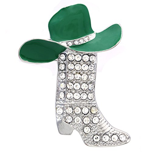 Lucky Western Cowboy Boots Brooch Green Hat Pin Charm Enamel (Green Hat Pin)