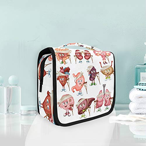 Toiletry Bag Cartoon Sick Spleen Lung Kidney Liver Portable Makeup Storage Cosmetic Bag]()