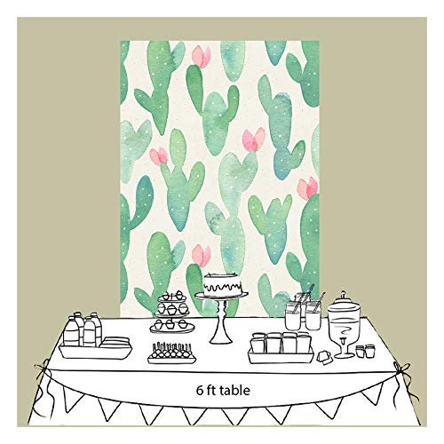 FiVan Baby Shower Backdrop Kids Smash Cake Party Birthday Cactus Floral Backdrop Party Wall Decoration XT-56545x6.5ft