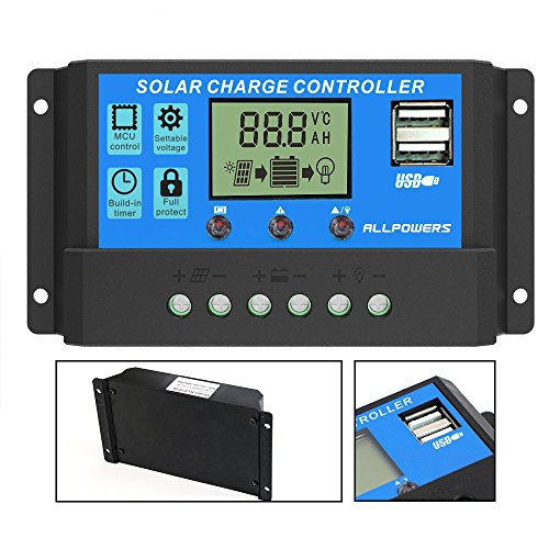- ALLPOWERS 20A Solar Charger Controller Solar Panel Battery Intelligent Regulator with USB Port Display 12V/24V