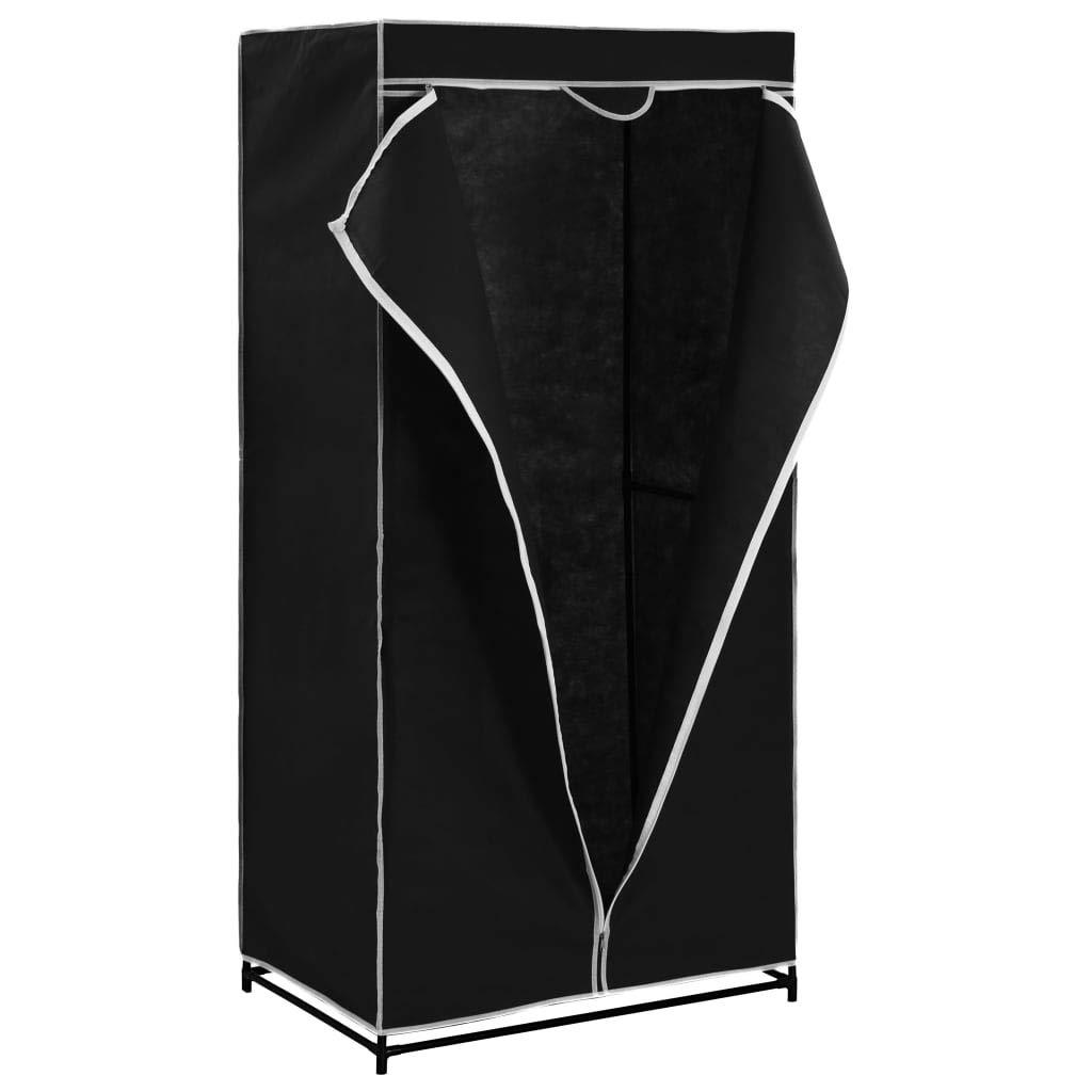 Festnight Kleiderschrank 75 x 50 x 160 cm W/äscheschrank mit Rei/ßverschl/üssen Stoffschrank Schwarz Polyester mit Eisenrohr