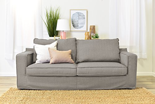 """Serta Colton 85"""" Sofa with Slipcover in Soft Light Beige"""