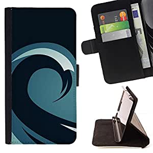 DEVIL CASE - FOR Samsung Galaxy S5 Mini, SM-G800 - Minimalist Wave Pattern - Style PU Leather Case Wallet Flip Stand Flap Closure Cover