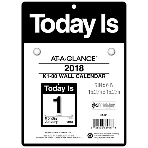 "AT-A-GLANCE Daily Wall Calendar, January 2018 - December 2018, 6"" x 6"", ""Today Is"" Design (K100)"