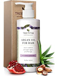 Organic Argan Oil Conditioner for Dry Hair. The Only pH 5.5 Balanced Hydrating Hair Conditioner for Damaged Hair & Sensitive Skin, with Organic Wild Soapberries, Lavender 8.5 oz—by Tree To Tub