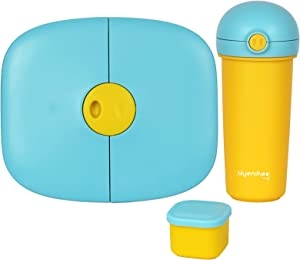 Hyenikoo Kids Childrens Lunch Box - Bento-Styled Lunch Solution Offers Durable, Leak-Proof, On-the-Go Meal and Snack Packing