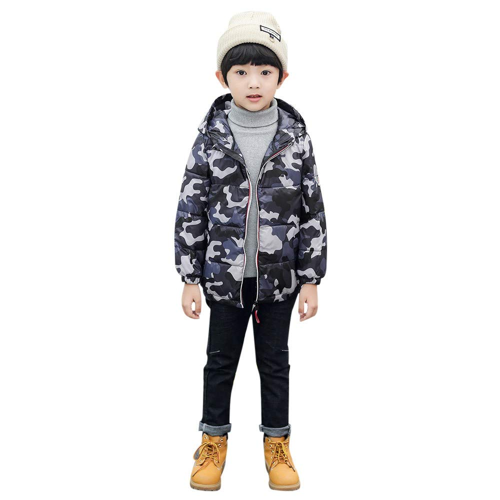 FIged Baby Outerwear, Zipper Camouflage Warm Thick Hoodie Winter Casual Clothes