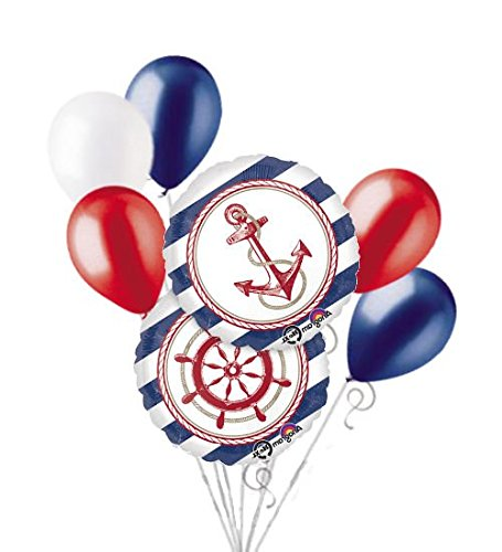 [7 pc Anchors Aweigh Nautical Balloon Bouquet Party Decoration Birthday Baby Sea] (Party Decoration Items)
