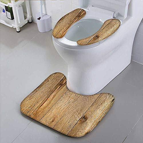 oilet Seatold Weathered Wood Surface with Long Boards Lined up Wooden Planks on a or Floor with Grain Black Non-Slip ()