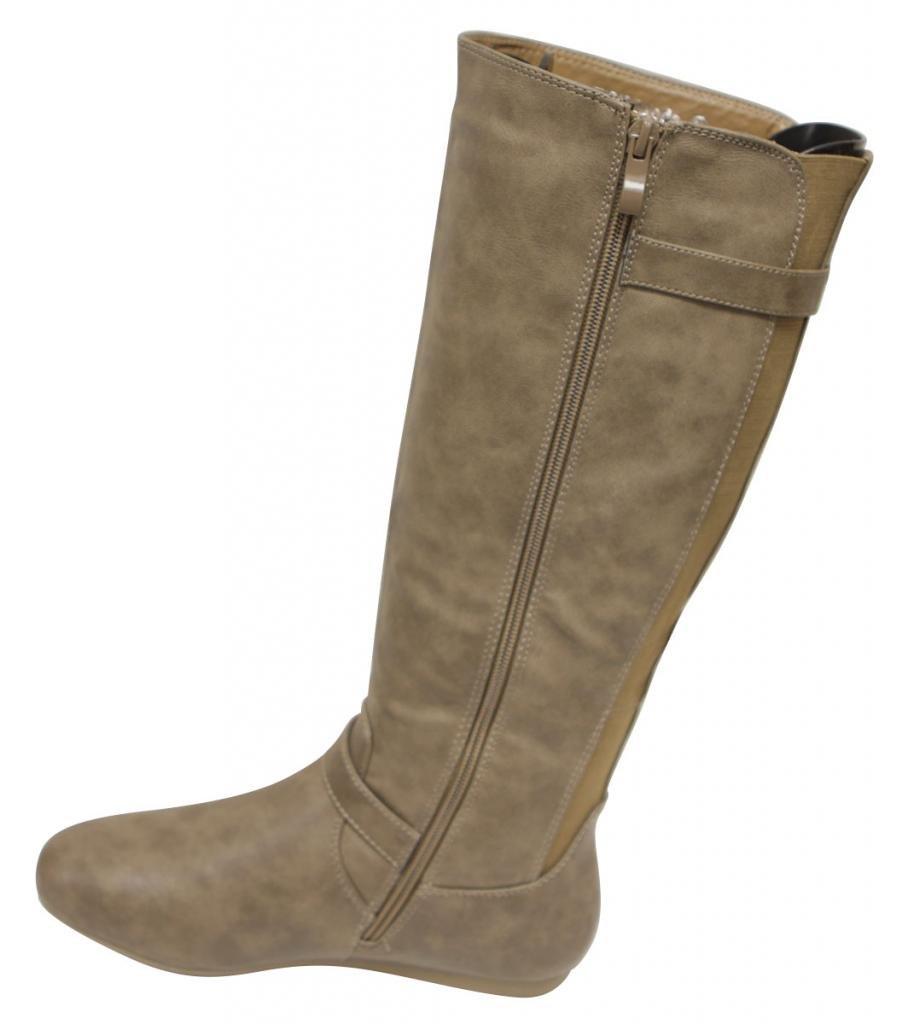 Top Moda Tab-77 Women's fine buckled straps decor round toe side zipper elastic rear design knee high flat PU boots Khaki 6.5 by Top Moda (Image #3)