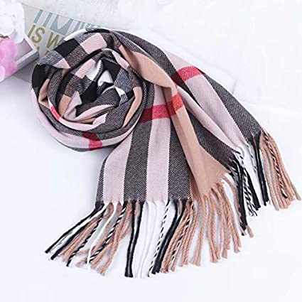 Discountfan Winter Long Soft Warm Tartan Check Scarves Wraps for women Wool Spinning Tassel Shawl Long Stole Viskey