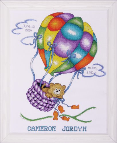 Tobin 18 Count Balloon Cat Sampler Counted Cross Stitch Kit, 11-Inch by 14-Inch