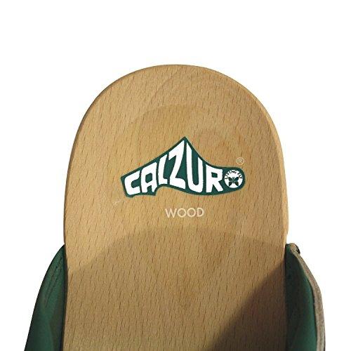 Calzuro Leder Holz Clogs Pantolette Sandalette Berufsschuhe Krankenhaus Praxis Schuhe Arbeitsschuhe grün