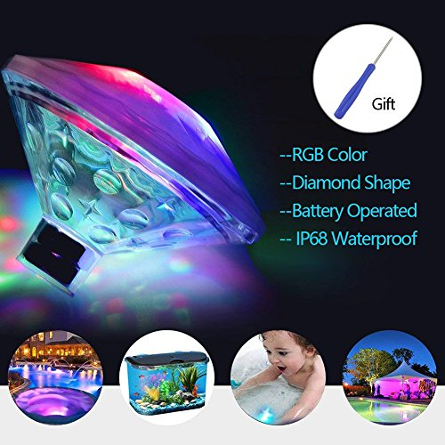 Colorful Waterproof Swimming Pool lights with Screwdriver, Floating Underwater LED Lights, Baby Bath Lights for Pool, Christmas, Fountain, Pond, Hot Tub or Party Decorations(7 Lighting Modes) by RAIN QUEEN
