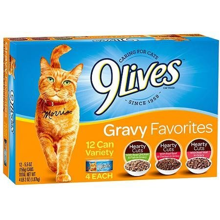 518jh DiiOL - 9Lives Hearty Cuts Gravy Favorites Wet Cat Food Variety Pack, 5.5-Ounce Cans (Pack of 12) 4 each: Real Chicken & Fish In Gravy, Real Veal In Gravy, Real Beef & Chicken In Gravy