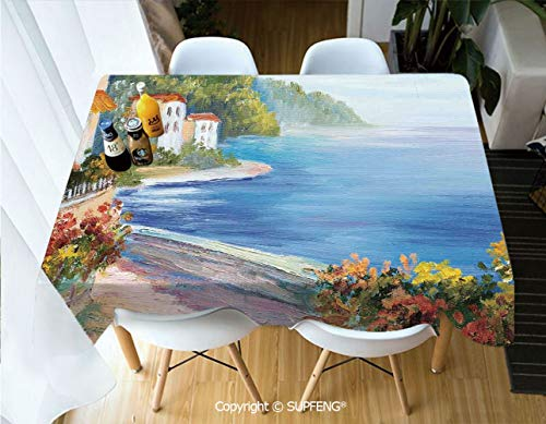 Rectangular tablecloth House and Colorful Flowers Seascape in Summer Oil Painting Style (60 X 104 inch) Great for Buffet Table, Parties, Holiday Dinner, Wedding & More.Desktop decoration.Polyester Wr -