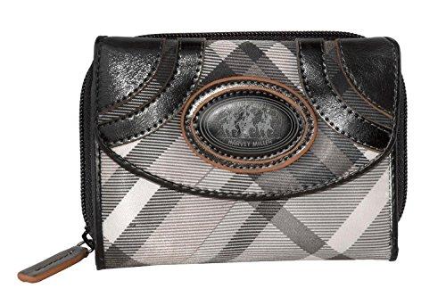 Cartera mujer HARVEY MILLER gris negro con monedero externo A4693