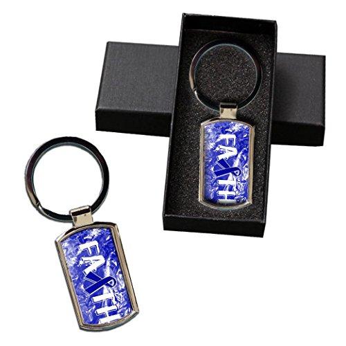 BleuReign(TM) Colon Cancer Awareness Faith Ribbon Metal Keychain