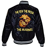 US Marine Corps USMC Satin Jacket, Black