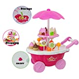 ice cream cart for adults - Leegor New Kids Toys 1Set (39pcs) Simulation Mini Candy Ice Cream Trolley Shop Pretend Play 39PC Kids Developmental Toy Christmas Gift
