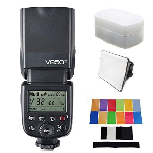 Godox更新されv850ii gn60フラッシュ+ EACHSHOTディフューザー+ソフトボックス+カラーフィルタ v850 II内蔵2 4 GサポートマスタースレーブLi Ionバッテリーfor Canon Nikon Sony Pentax Olympusの商品画像