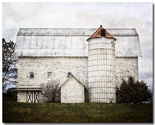 Farmhouse Decor Photograph, Fixer Upper Style Wall Art, White Barn Landscape, Country Decor.]()