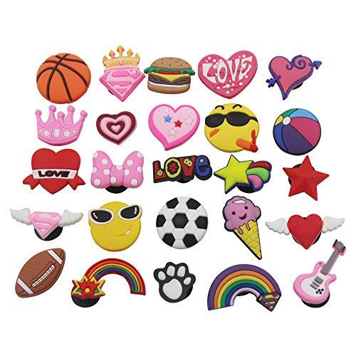 25pc Love Sport Cute Ball Shoe Charms For Jibbitz Croc Shoes & Bracelet Wristband