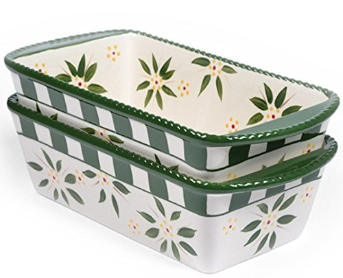 Temp-tations Set of 2 Loaf Pans for Meat Loafs or Breads 1.75 Quart Each (Vivid Old World Green)