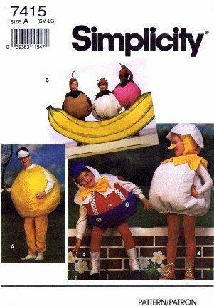 Simplicity 7415 Costume Sewing Pattern Banana Sundae Humpty Dumpty Baseball Pumpkin Tomato -